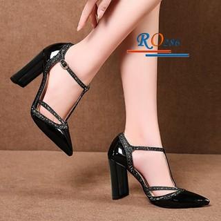 Giày sandal gót trụ viền kim tuyến cao cấp ROSATA RO286 cao 7p mũi nhọn - đen, bạc - HÀNG VIỆT NAM - BKSTORE