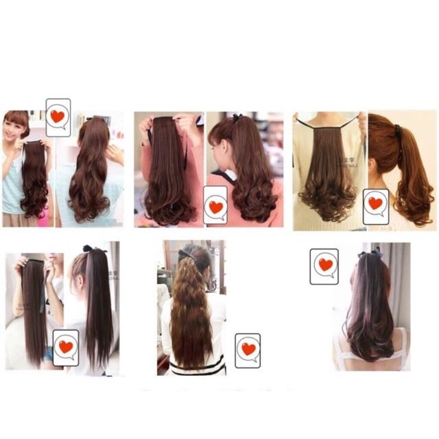 Tóc giả cột, tóc buộc xoăn tơ cao cấp, dày 100-110gr 90k