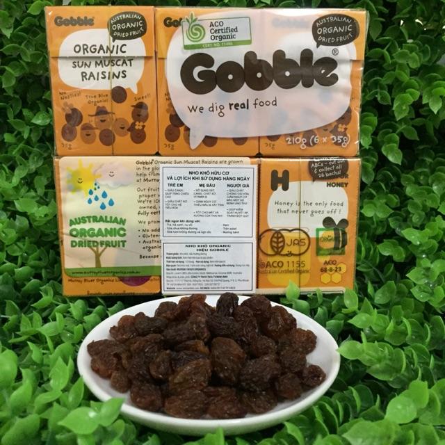 Nho khô hữu cơ Úc Gobble organic Sun Muscat 210g 6 hộp nhỏ 35g