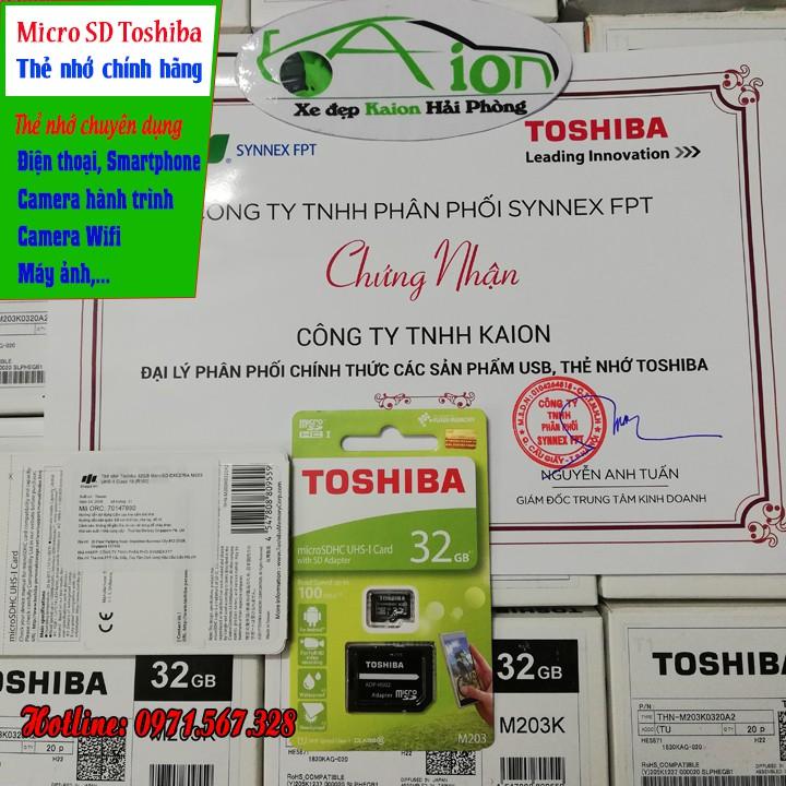 Thẻ Nhớ Toshiba Micro-SD 32GB - chuyên dụng cho Camera Hành Trình, Cam IP, Điện thoại   Thẻ Nhớ MSD32GB - Chính Hãng