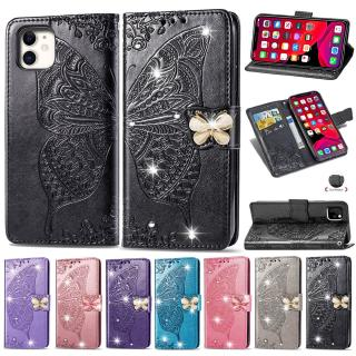 Rhinestone Cover Butterfly Leather Case for Motorola Moto G7 PLAY Power P40 one vision Z4