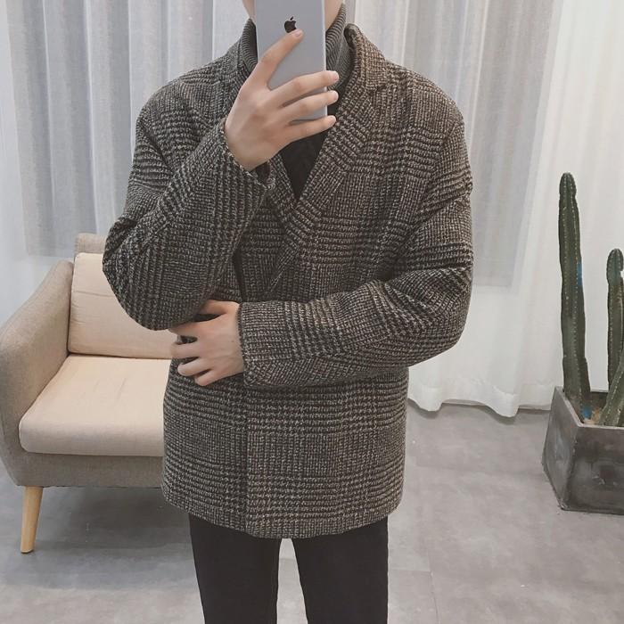 (ORDER) Áo blazer dạ kẻ sọc nâu