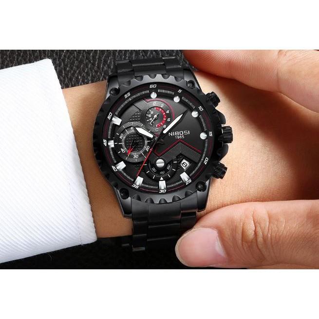 [Tặng vòng tay]Đồng hồ nam NIBOSI chính hãng NI2322.04 dây thép không gỉ