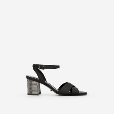 Vacara Giày Sandal Gót Metallic Phối Vải Satin - SDN 0641 - Màu Đen
