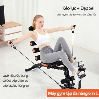 Máy tập gym máy gập bụng 6 trong 1 đa năng máy tập thể thao tại nhà tập gọn bụng thon eo có bàn đạp xe có dây kéo tập