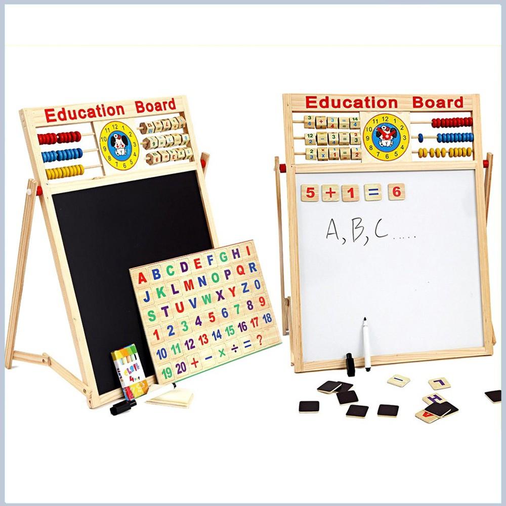 [Chất lượng cao] Bảng gỗ nam châm giáo dục 2 mặt cho bé viết vẽ, học số, học chữ cái