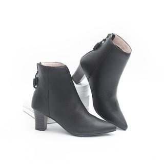 Giày Boot Lửng Cao Gót Mũi Nhọn 6cm Da Bò Thật Màu Đen Pixie P349