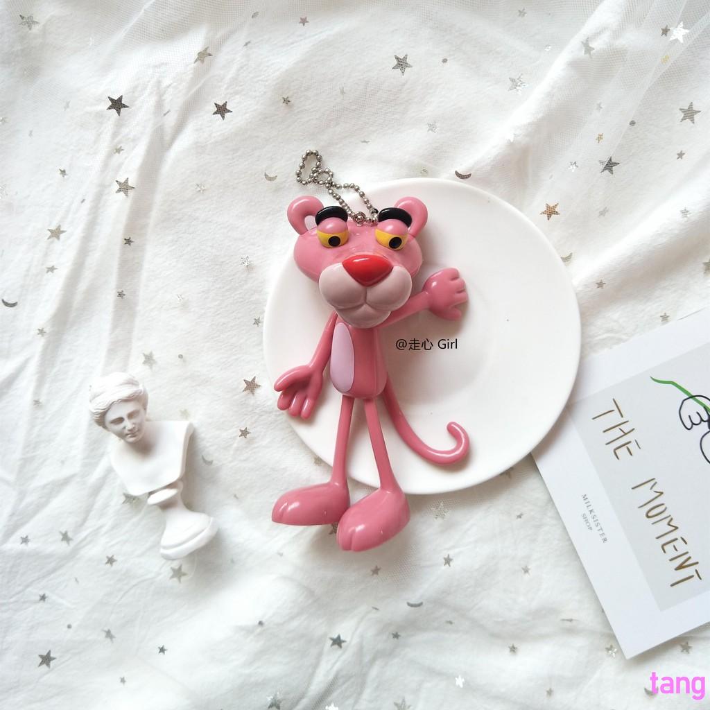 Ins Korea cute girl heart cartoon pink naughty leopard pink leopard key ring pen