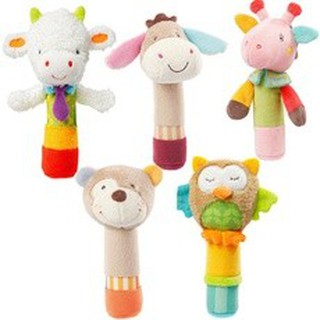 1 Pcs Rattle Grasping Appease Animal BB Hand Puppet Doll for Infants Toddler
