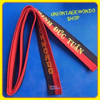Miễn Phí Thêu Tên Đai Đỏ Đen Taekwondo UnionTaekwondoSHOP Ngang 4.5cm thumbnail