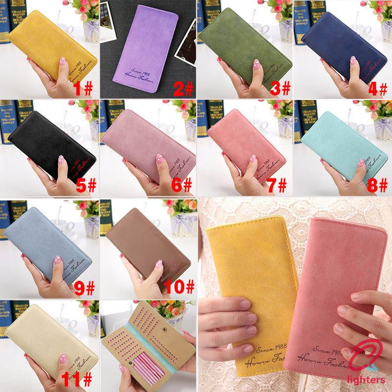 〖lighters❤〗 New Fashion Vintage Women Purse Female Slim Long Wallet Card Holder Bag Matte Leather Wallets