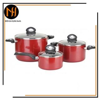 Bộ nồi chống dính đáy từ Happycook Norway size 16cm - 20cm - 24cm, sử dụng được trên bếp từ, có bán lẻ size