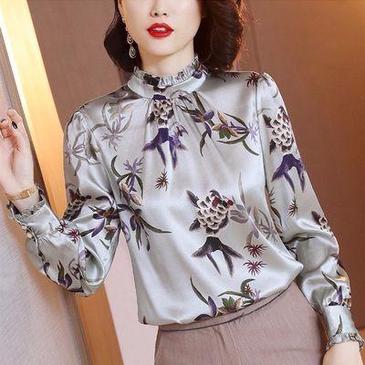 พิมพ์หนักเสื้อแขนยาวของผู้หญิงในฤดูใบไม้ผลิและฤดูใบไม้ร่วงปี 2019 จำลองใหม่เสื้อไหมเสื้ออารมณ์ย้อนยุคเสื้อสลิม