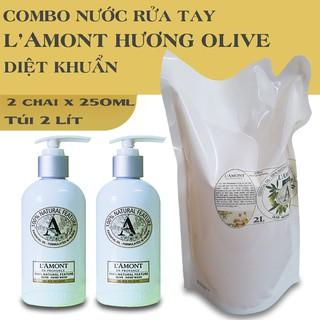 Combo Siêu tiết kiệm gồm 2 chai nước Rửa tay LAmont Olive 250ml chai và 1 Túi Nước Rửa tay Olive 2 Lít