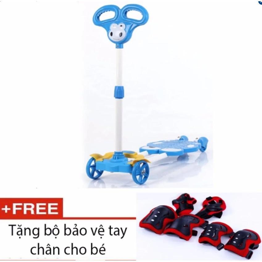 Light shop - Xe trượt Scooter 4 bánh cho bé (Xanh dương) + tặng kèm bộ bảo vệ tay chân cho bé