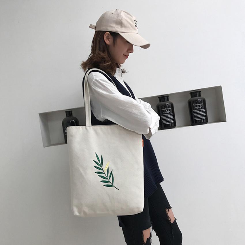 Túi vải túi tote đựng đồ in hình chiếc lá siêu đẹp