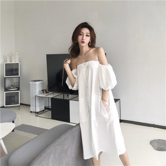 Váy trễ vai trắng cúc trắng - B811 : 340