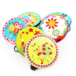 High 6inch Hand Held Tambourine Drum Colorful Wooden Percussion Kids Baby Musical Toy