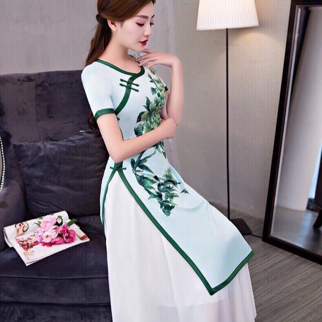 Sét áo dài cách tân cổ tàu hoa xanh + chân váy trắng - 3204028 , 1258210784 , 322_1258210784 , 240000 , Set-ao-dai-cach-tan-co-tau-hoa-xanh-chan-vay-trang-322_1258210784 , shopee.vn , Sét áo dài cách tân cổ tàu hoa xanh + chân váy trắng