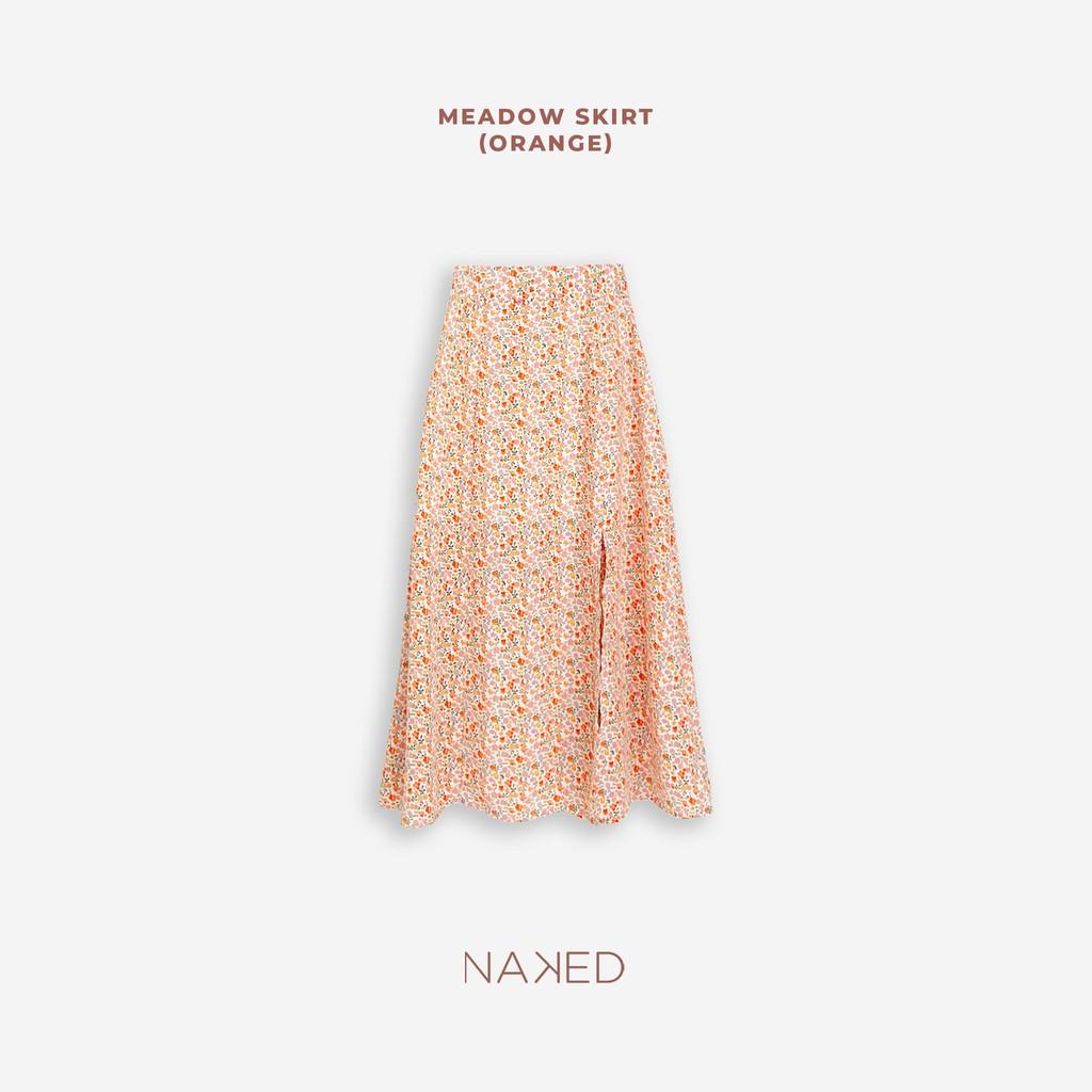 Naked By V - Chân váy xẻ hoa nhí Meadow Skirt (Cam)