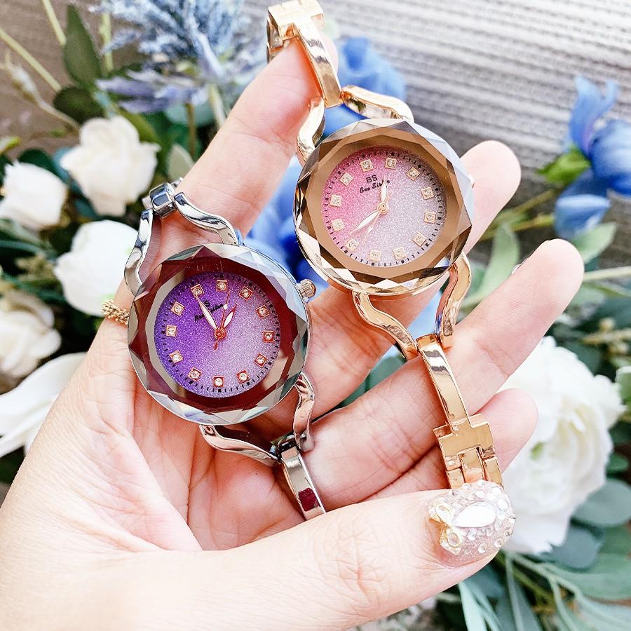 Đồng hồ nữ Dyoss & XBeauty mặt kính 3D kim tuyến, thiết kế trẻ trung, sang trọng. Đồng hồ nữ đẹp sang trọng