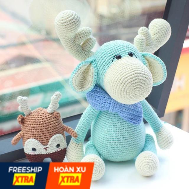 Gấu Bông Len Handmade Cao Cấp Cho Bé GB05 – Tuần Lộc Sừng Kem