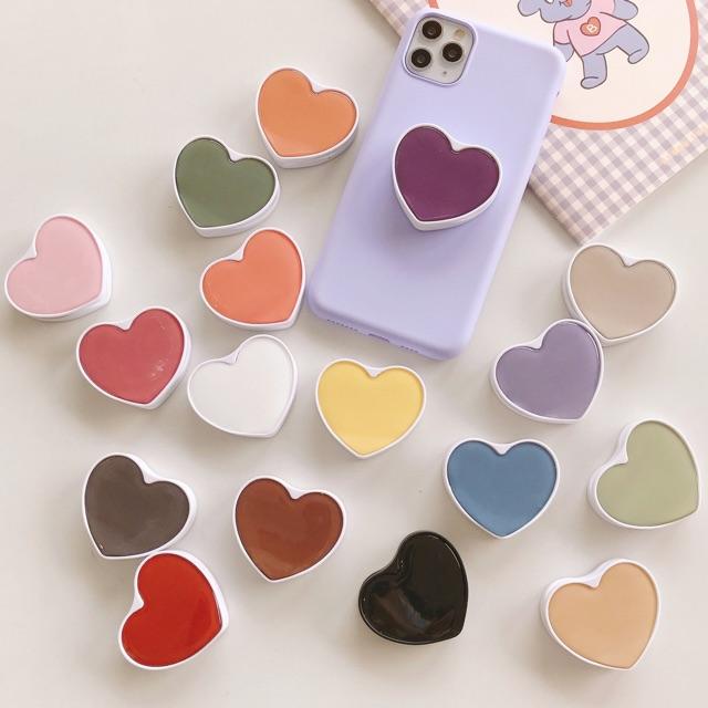 Griptok đỡ điện thoại hình tim trơn màu phong cách Hàn đế chân gập - tiemcuaan