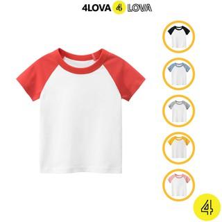 Áo thun cộc tay cho bé 4LOVA phối màu tay kiểu dáng basic từ 8 - 40kg hàng chính hãng