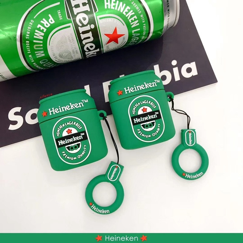 Creative ins personality Heineken beer case for airpods 1, 2 generation wireless Bluetooth silicone headset cover