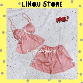 Đồ ngủ sexy Freeship Đồ ngủ sexy 2 dây có mút ngực chất satin mềm mịn Freesize dưới 60kg - Linqu Sleepwear thumbnail