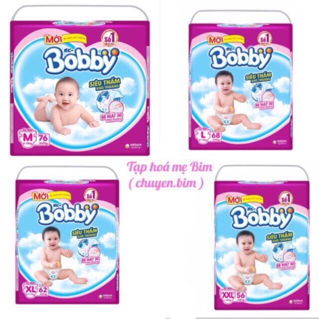 ( Kèm Quà ) Bỉm Bobby dán s56, M76, L68, Xl62, Xxl56