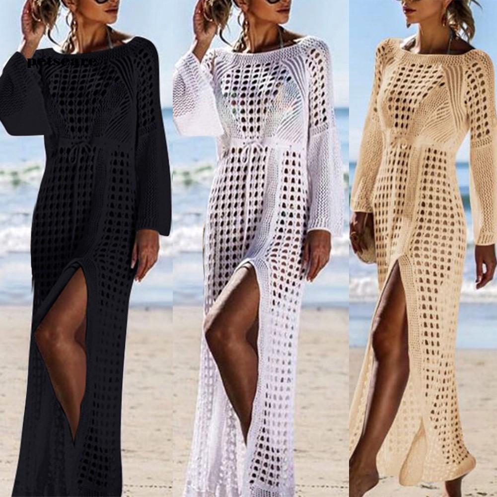 Ptcr_Summer Women Hollow Knitted Long Sleeve High Split Bikini Cover Up Maxi Dress