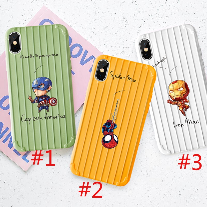 The Avengers Case for iPhone 6 6s 7 8 6plus 8plus XR X XS XSMax Ironman Spiderman Captain America Trunk Style Casing
