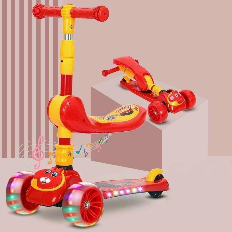 Xe scooter cho trẻ em đa năng cao cấp có nhạc có phát sáng gấp gọn thông minh BBS01