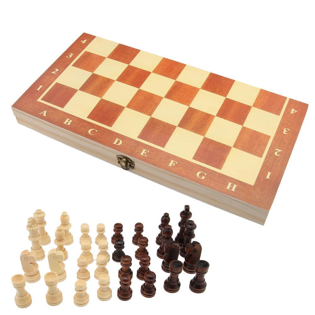 Vintage Wood Pieces Chess Set Folding Board Box Wood Hand Carved Kid Gift
