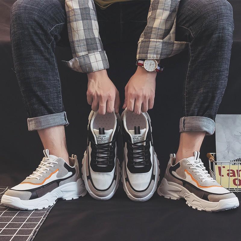 Giày Nam Thể Thao Sneaker Tăng Chiều Cao Phối Da Lộn Cao Cấp Rẻ Đẹp BOM-GN-030