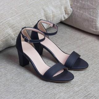 Giày gót vuông 7 phân quai ngang da mềm-gcg28