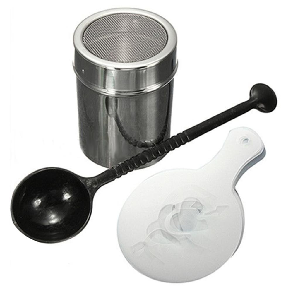 Chocolate Shaker Duster + 16pcs Capno Coffee Stencils + Measure Spoon