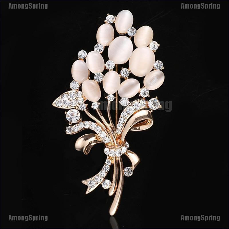 Amongspring❥ Fashion Women Brooch Pin Opal Stone Flower Brooch Rhinestone Garment Accessories