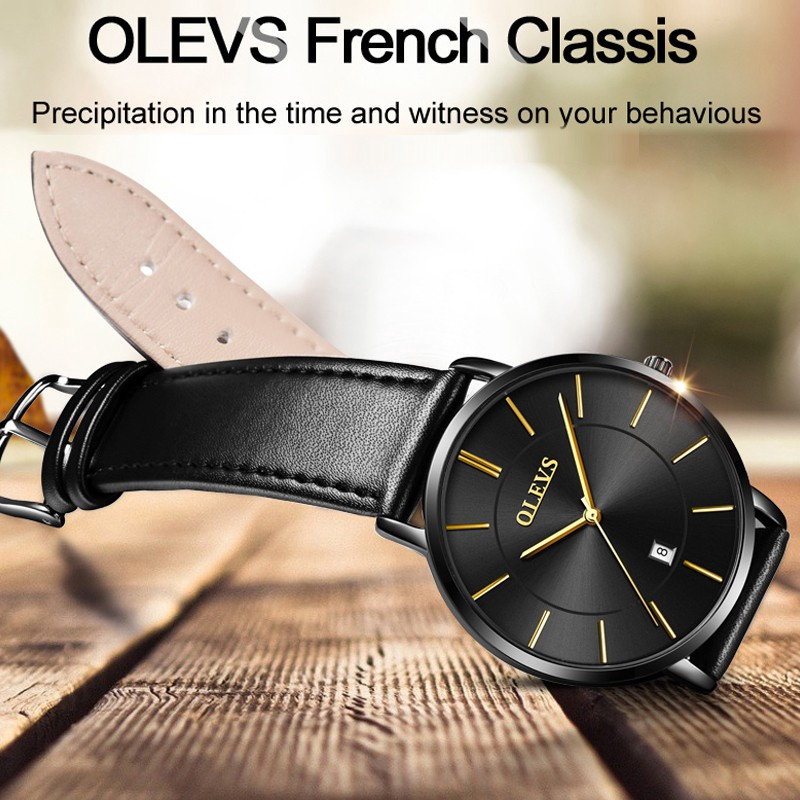 OLEVS 5869 Watch Men and Women Leather Strap Genuine Waterproof Original Quartz Calendar Classic Simple