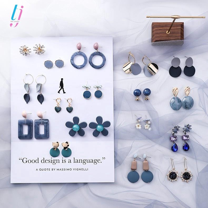 Bông tai kiểu dáng hình học phong cách Hàn Quốc hợp thời trang #1-#16
