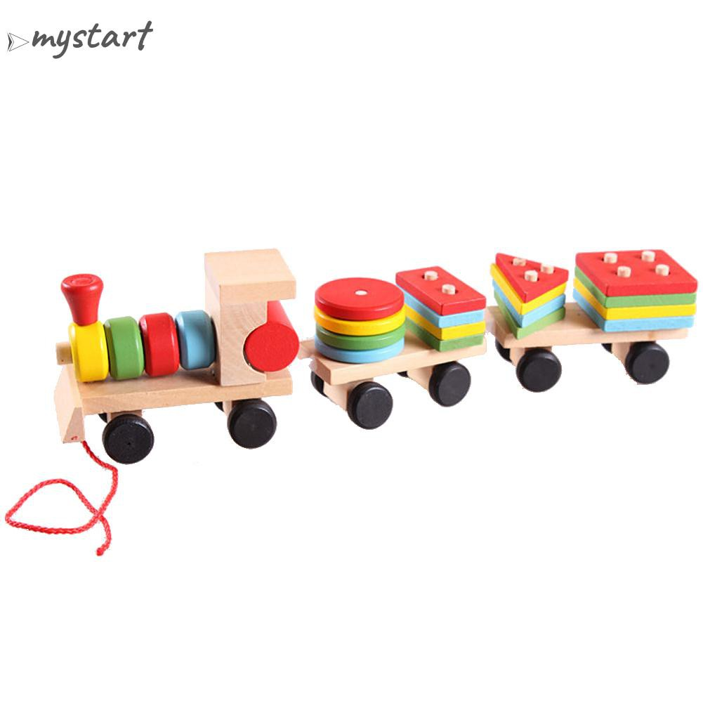 Educational Kid Baby Wooden Solid Wood Stacking Train Toddler Block Toy