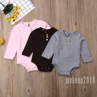 Mu♫-Newborn Baby Girl Boy Long Sleeve Romper Bodysuit Jumpsuit Outfit Solid Clothes