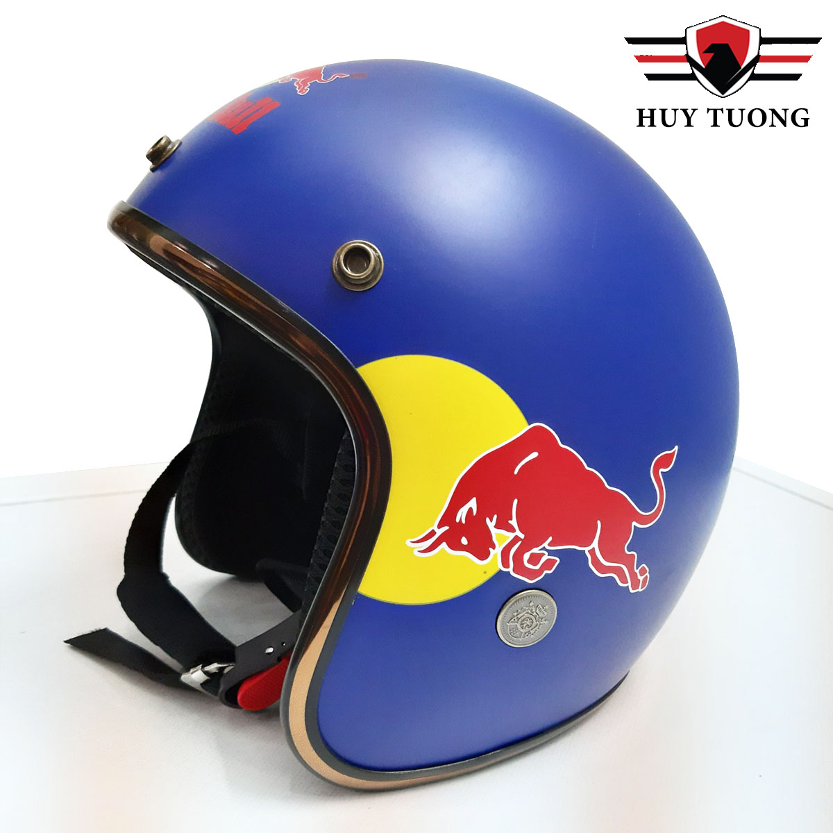 Nón bảo hiểm 3/4 Red Bull thể thao tặng kèm mũi gió gắn nón cao cấp - Huy Tưởng