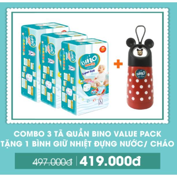 [QUÀ TẶNG] Combo 3 Tã quần Bino Value Pack M40/L36/XL32/XXL28 + Tặng Bình giữ nhiệt đựng nước/cháo