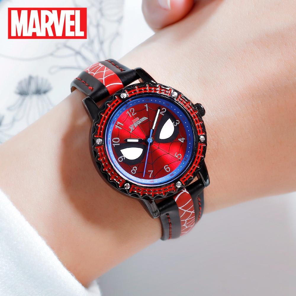 MARVEL Avengers Spider-Men Siêu anh hùng Giấc mơ thời thơ ấu Trẻ em Nhật Bản Đồng hồ thạch anh PU Band Đồng hồ chống nước Đồng hồ trẻ em