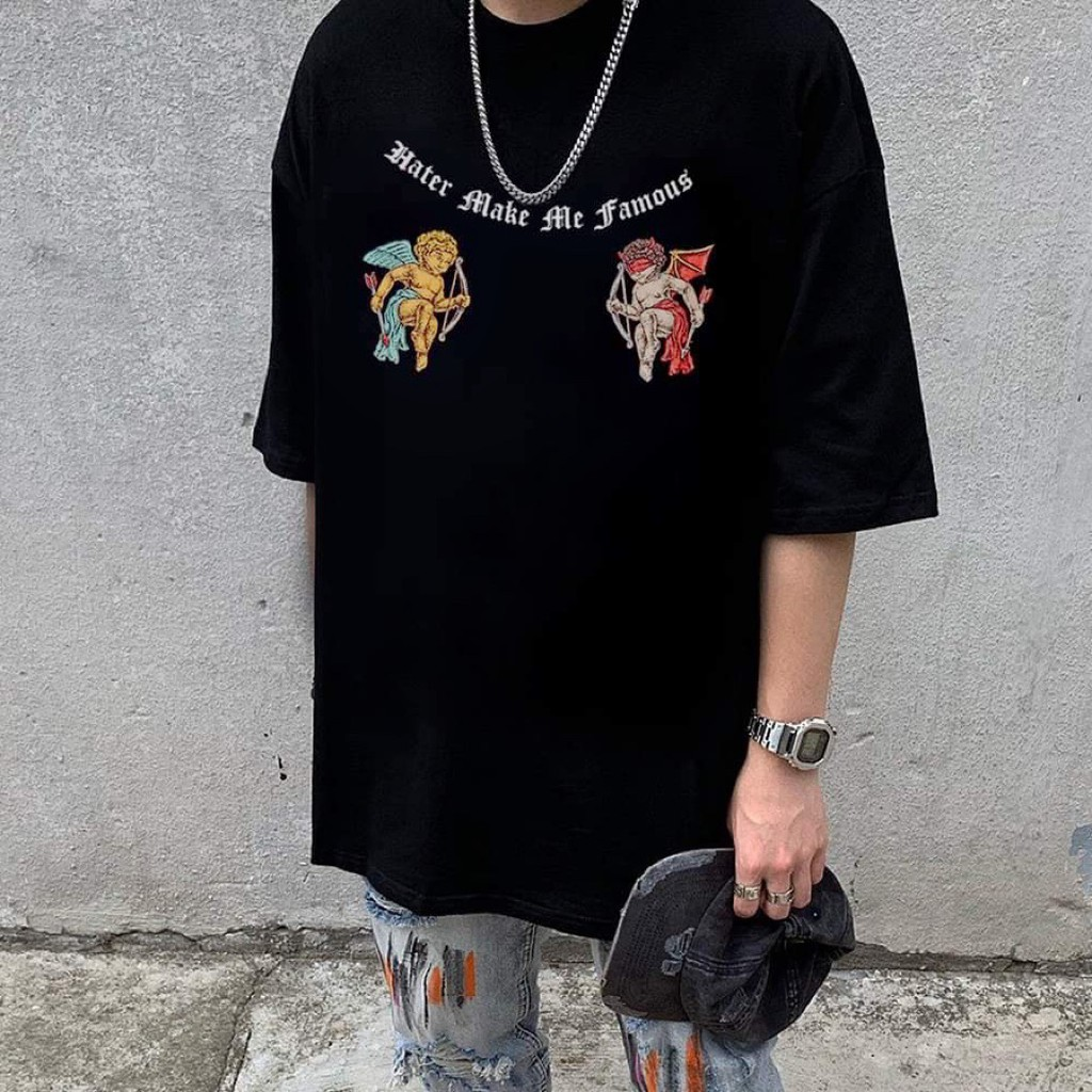Áo thun tay lỡ Hater The Bad God , áo thun cotton nam nữ unisex , MSW Town