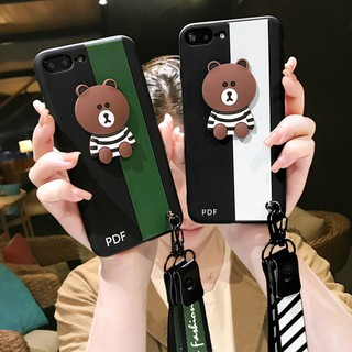 OPPO R9s Fashion Cute Cartoon Bear Back Cover With Lanyard