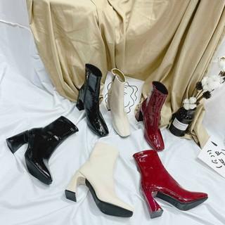 Giày bốt nữ mã 2300 có 3 màu đen trắng đỏ cổ cao da bóng khóa kéo cạnh boot nữ gót cao 7 cm boots ulzzang hàn quốc 2020 thumbnail
