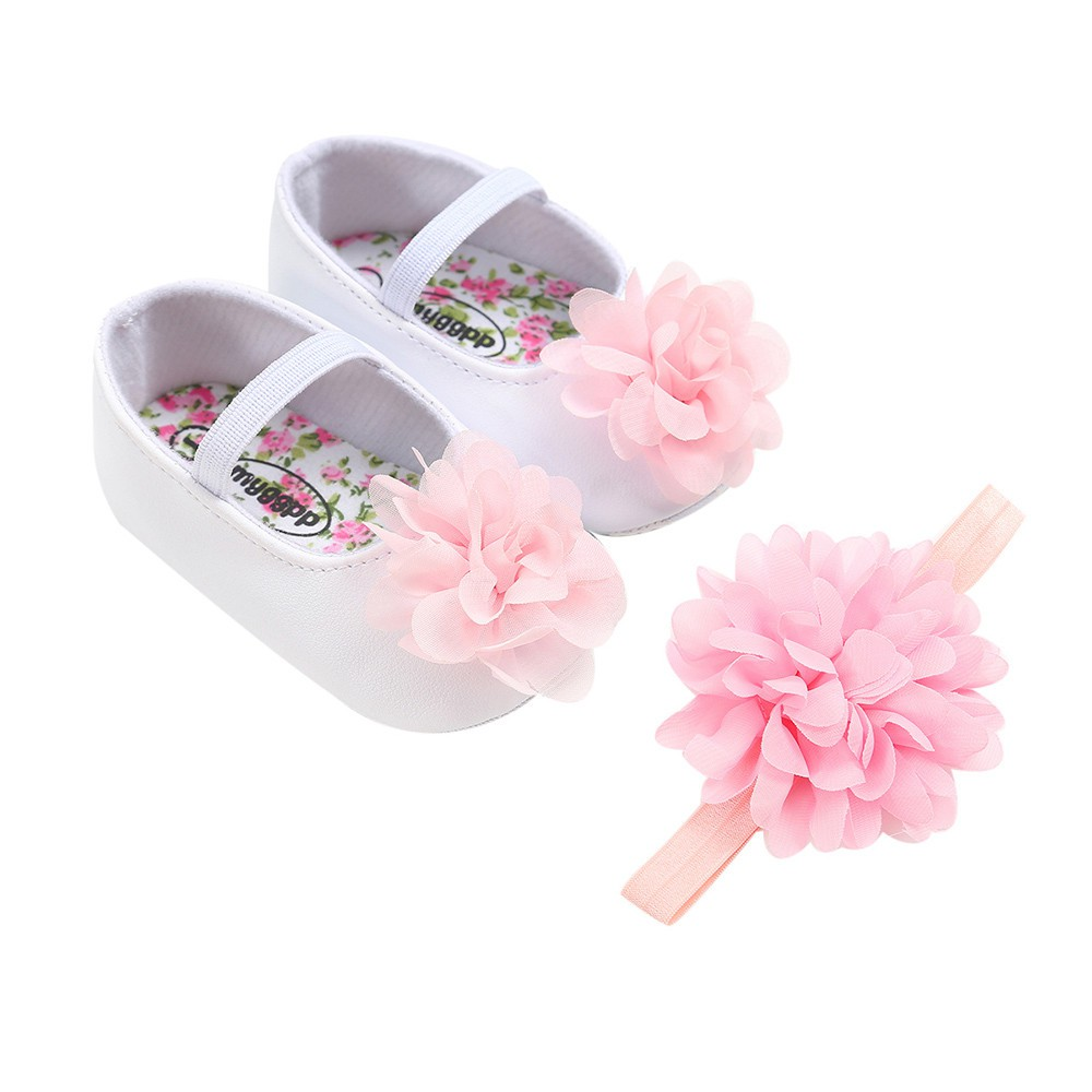 ♥nayuta♥ Baby Girl Flower Shoes+1PC Hair Belt Toddler First Walkers Kid Shoes
